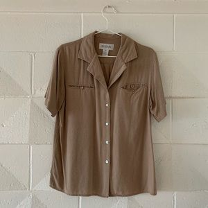 Vintage Raw Silk / Linen Button-up Shirt